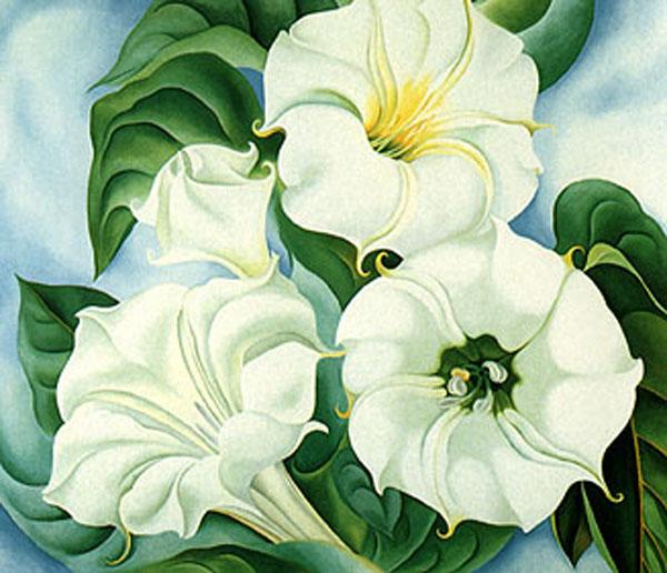 """""""Jimson Leed"""" (su título original era """"Miracle Flower"""", 1936, en óleo sobre lino, y mide 177.8 x 210.8 cm, Indianapolis Museum of Art), de Georgia O'Keeffe."""