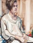 """Nate (Nate Lowman, NYC, 2011)"" (2011, óleo sobre tabla, 35.6 x 27.9 cm), de Elizabeth Peyton."