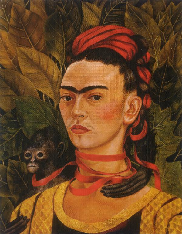 """""""Autorretrato con mono"""" (1940, óleo sobre masonite, 55.2 x 43.5 cm, Colección particular), de Frida Kahlo."""
