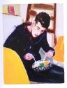 """""""Maurizio eating"""" (1998, óleo sobre tabla, 30.5 x 22.9 cm, Colección Nancy Delman Portnoy), de Elizabeth Peyton. Retrato del artista italiano Maurizio Cattelan comiendo."""